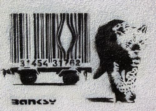 BANKSY - ESCAPE THE BAR CODE - wall canvas print - self adhesive poster - photo print